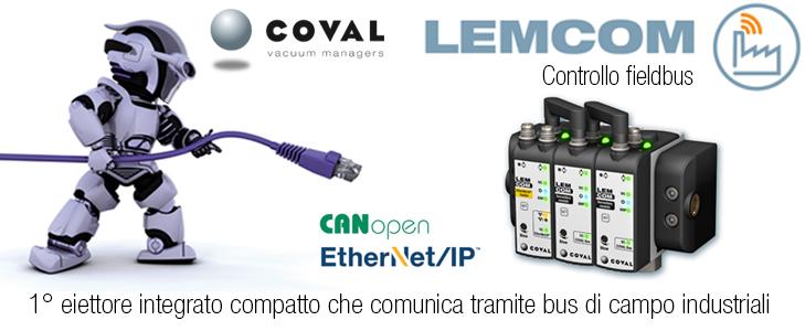 Eiettore integrato con controllo fieldbus EtherNet/IP e CANopen